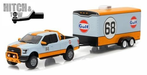 New 1:64 HITCH & TOW SERIES 7 - BLUE 2015 FORD F-150 GULF OIL #68 AND ENCLOSED CAR HAULER Diecast Model Car By - Enclosed Car Trailer Hauler