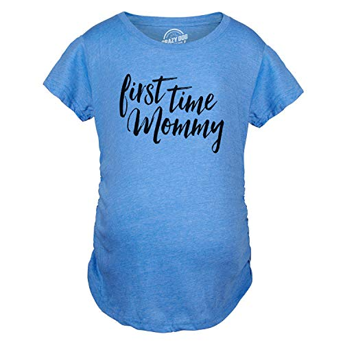 - Maternity First Time Mommy Pregnancy Tshirt Cute Belly Bump Tee for Mother to Be (Heather Light Blue) - L