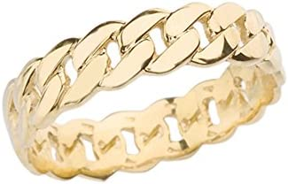Celtic Rings 10k Gracious Yellow Gold 5 mm Cuban Link Chain Eternity Band Ring Size 825