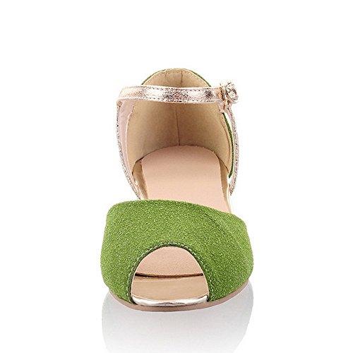 Flat Green Toe Ankle Peep Women's Sandals Strap LongFengMa Fashion wxqFYWza