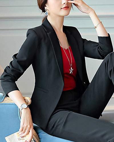 Y Negro Abrigo Casual Elegante Blazer Top Coat Cardigans Lapel Pantalones Traje Chaqueta Mujer 7wgTqvU