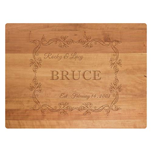 Custom Cutting Board, Personalized Engraved Kitchen Butcher Block for Chopping Cheese, Large Cherry Serving Board for Wedding Gift -