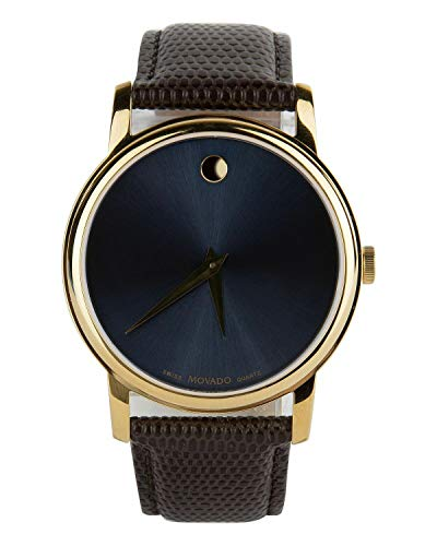 (Movado Museum Blue Dial Brown Leather Strap Gold Bezel Men's Swiss Watch)