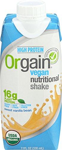 Orgain Plant Based Organic Vegan Nutrition Shake, Sweet Vanilla Bean, 11 Ounce, 12 Count, Packaging May Vary 851770003223