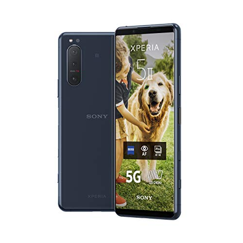 Sony Xperia 5 II - 6.1 Inch 21:9 CinemaWide™ FHD+ HDR OLED display 120Hz - Triple lens camera - 3.5 mm audio jack - Android 10 - SIM free - 8 GB RAM - 128 GB Storage - Dual SIM hybrid - 5G - Blue