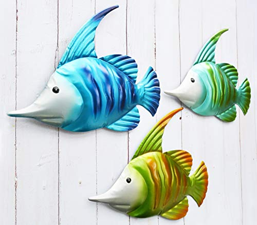 GIFTME 5 Metal Fish Wall Art Graden Decor Set of 3 Colorful Outdoor or Indoor Wall Sculptures
