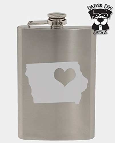 Iowa Pride I Heart My State Art Personalized Custom Hand Etched Stainless Steel 8 oz Flask Great Gift ()
