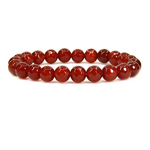 - Natural Faceted Red Agate Gemstone 8mm Round Beads Stretch Bracelet 7