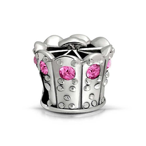 UPC 640626674638, Bling Jewelry Sterling Princess Crown Simulated Pink Topaz CZ Bead Fits Pandora