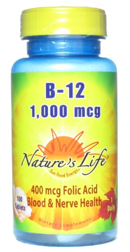 Nature's Life B-12 , 1000 Mcg, 400 mcg Folic Acid,  100 Tablets
