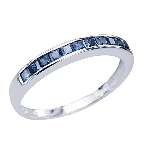 Classic Men's Natural Sapphire Gemstones 9K White Gold Je...