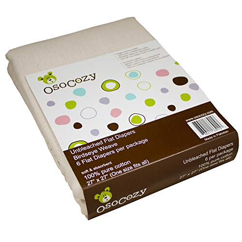 Bleached Single Fold Towels - OsoCozy 6 Pack Birdseye Flat Unbleached Diapers