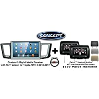 Concept FFMS-10L Custom-Fit Digital Media Receiver w/ 10.1 screen TOY-RAV-10 for Toyota RAV 4 (2013-2017) & Pair of CLS703 7 Headrest Monitors w/ 3 color covers & a FREE SOTS Air Freshener Included
