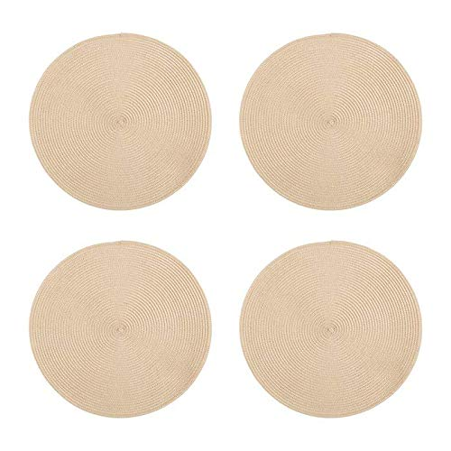 Blue Set of 4 Northeast Home Goods Casual Round Textured Placemats