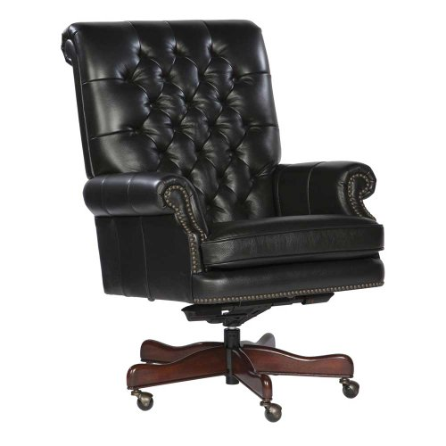 Furniture Hekman Executive Chair - Tufted Leather Executive Office Chair Color: Black