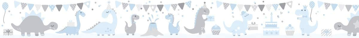 lovely label Wallpaper Border for Kids Wall Decal and Stickers for Children Self-Adhesive Wall Border Stickers Dinosaurs Wall Stickers for Childrens Playroom or Bedroom in Blue//Grey