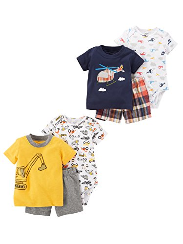 Carter's Baby Boys' 6-Piece Bodysuit Tee and Short Set, Yellow Construction/Plaid Helicopter, 6 Months