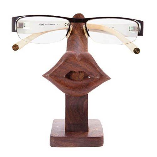 Khandekar (with device of K) Wooden Spectacle Holder, Lip Design Spec Holder, Eyewear Retainer, Spectacle Display Stand, Sunglass Holder, Wood Eyeglass Holder | Handmade | (5 x 3 Inch)