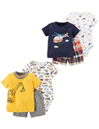 Baby Boys' 6-Piece Bodysuit Tee and Short Set