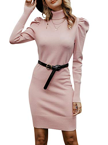 (MsLure Women's Turtleneck Knit Sweater Dress Puff Sleeve Mini Dress Bodycon Party Dress Pink,S)