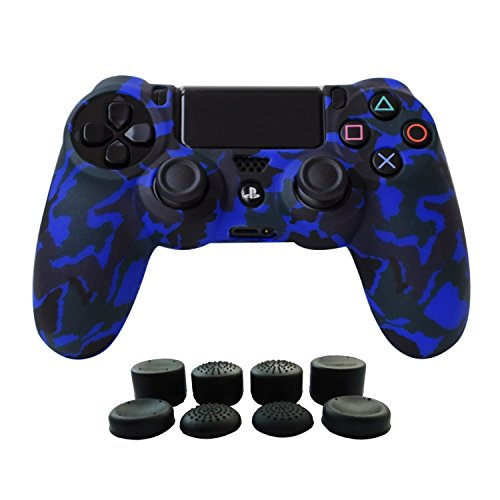 Hikfly Silicone Gel Controller Cover Protector Kits for Sony PS4 /PS4 Slim/PS4 Pro Controller Video Games(1 x Controller Cover with 8 x FPS Pro Thumb Grip Caps)(Blue)