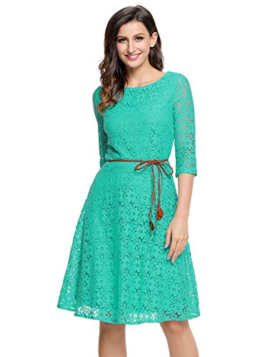 Grapent Women's Turquoise Lace Overlay A-line 3/4 Sleeves Short Party Dress With Belt US 16