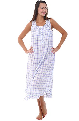 Alexander Del Rossa Womens 100% Cotton Lawn Nightgown, Long Sleeveless Chemise, Large Purple and Green Plaid (A0581L26LG)
