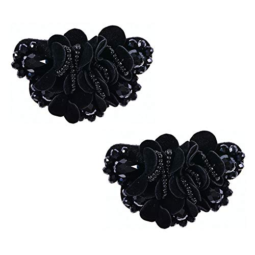 Douqu 2 Pcs 2.8inch Women Bow Flower Crystal Flip Flop Shoe Charms Beaded Fashion Shoe Clips (Black)