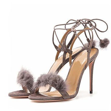LFNLYX Sandalias de mujer zapatos Primavera Verano Otoño Club Tobillo Fleece boda vestido de noche y Stiletto talón Lace-up pom-pom Black