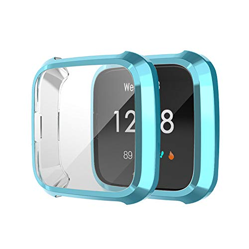 kitt Screen Protector Compatible with Fitbit, Durable 2PC Electroplate Soft Clear TPU Protector Case Cover (Blue)