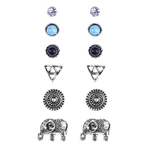 Shoopic 6 PCs/Set Vintage Retro Boho Elephant Stud Earring Assorted Pierced Ear Jewelry for Women