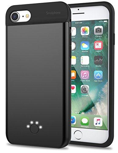 iPhone 7 6 6s Battery Case,Smaiphone Ultra Thin Extended Rechargeable iPhone 7 / iPhone 6 / iPhone 6s Case Battery with 3000mAh Capacity for Lightning Cable Input (Black) (Best Way To Listen To Music Offline)