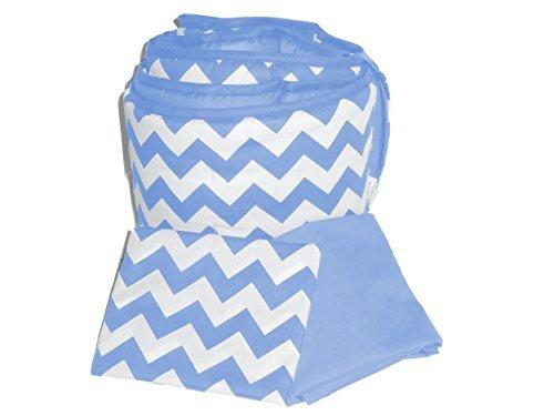 Baby Doll Bedding Chevron Round Crib Bumper and Sheet Set Blue [並行輸入品]   B07J9KMXDS
