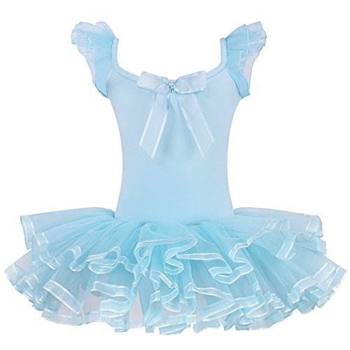 Kids Rhinestone Sparkle Dance Costumes Short Sleeve Tutu Ballet Dress for Little Girls 3-8 Years (Blue Dance Costume Dress)