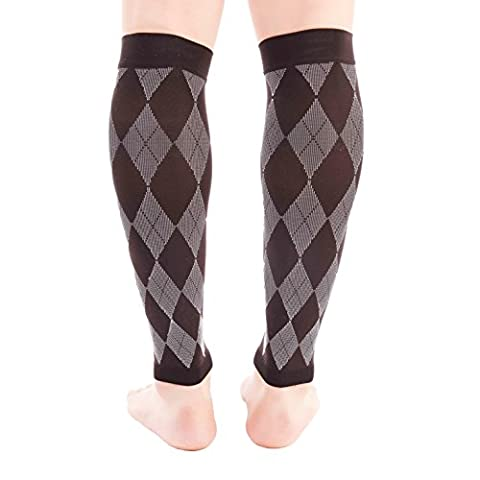 Premium Calf Compression Sleeve 1 Pair 20-30mmHg Strong Calf Support Graduated Pressure for Sports Running Muscle Recovery Shin Splints Varicose Veins Doc Miller (Argyle Black.Gray, X-Large)