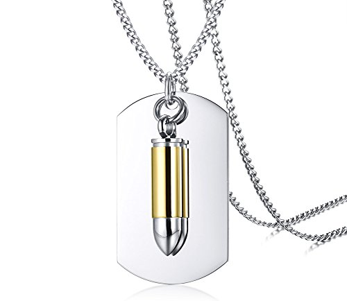 Mealguet Jewelry Two-Pieces Stainless Steel Military Engravable Dog Tags Bullet of Cremation Ash Urn Pendant Necklace for Men,24