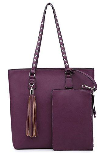 Elegant Shoulder Chic Bag Large Handbag Classic Purse Set Purple Medium Tote Tassels Women Wallets Hobo xaxvf