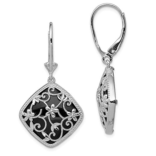 - 925 Sterling Silver Textured Black Onyx Leverback Earrings Lever Back Drop Dangle Fine Jewelry Gifts For Women For Her