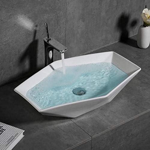 セラミック洗面器 北欧の六角菱形の幾何セラミックの上カウンター盆地セラミック洗面化粧台のシンク バスルームキャビネットシンク (色 : 白, Size : 63x41x13cm)