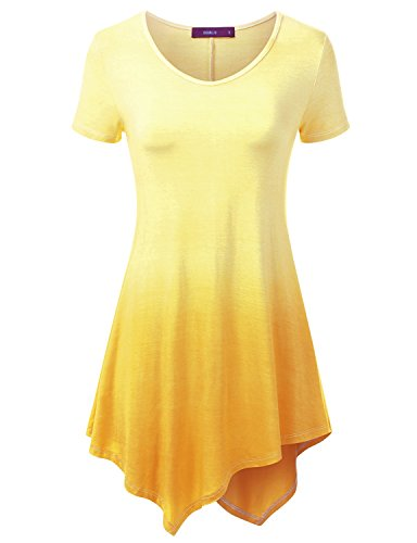 Ombre Scoop (Doublju Scoop Neck Tie-Dye Ombre Tunic Top For Women With Plus Size YELLOW LARGE)