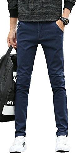 School Pants Trousers - Plaid&Plain Men's Skinny Stretchy Navy Blue Pants Colored Pants Slim Fit Slacks Tapered Trousers 819 Navy Blue 27X28