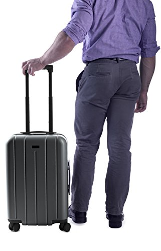 "CHESTER Minima Carry-On Luggage / 22"" Lightweight Polycarbonate Hardshell/Spinner Suitcase/TSA Approved Cabin Size (Charcoal)"