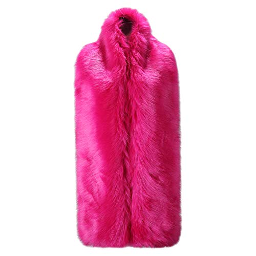 - Caracilia Women Long Winter Fashion Faux Fox Fur Collar Scarf Rose 180CA97