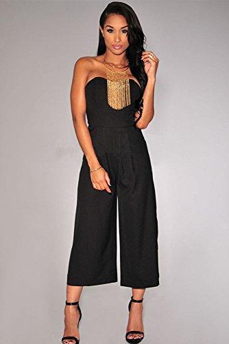 Damen Schwarz Off Schulter Stil Jumpsuit Catsuit Clubwear Kleidung Größe UK 8�?0EU 36�?8