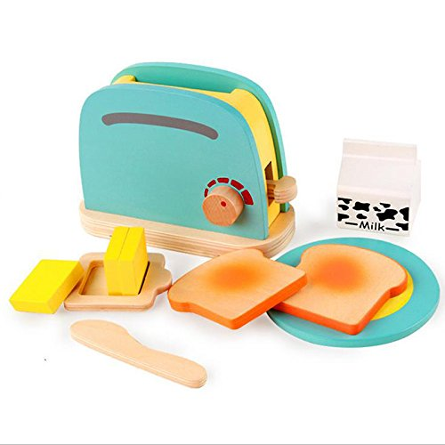 Cute Kids Breakfast Pretend Role Play Wooden Kitchen Toaster Toys Child Development Toy with Milk /Bread/ Butter Gift by Xiaolanwelc (Toaster Pretend Play)