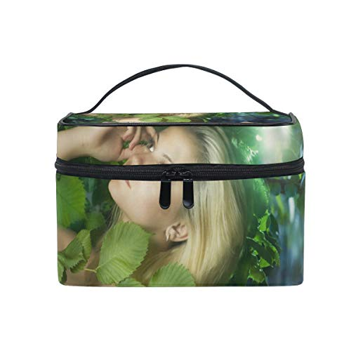 Makeup Cosmetic Bag Beautiful Girl In The Fairy Forest Portable Storage with Zipper]()