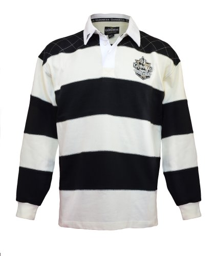 Guinness Rugby Shirt with Brewed in Dublin Crest Badge, Cream and Black Stripes (Beer Guinness Rugby)