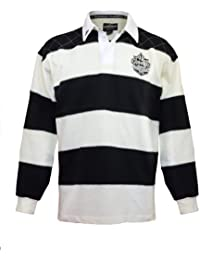 Rugby Shirt with Brewed in Dublin Crest Badge, Cream and Black Stripes