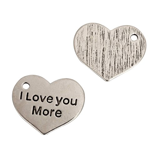 5pcs x I Love You More Charms 25x20mm Antique Silver Tone #mcz1058