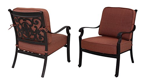 Darlee St. Cruz Cast Aluminum Club Chair with Seat and Back Cushion, Set of 2, Antique Bronze Finish -